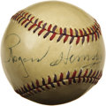 "Autographs:Baseballs, 1950's Rogers Hornsby Single Signed Baseball. ""Any ballplayer thatdon't sign autographs for little kids ain't an American,""..."