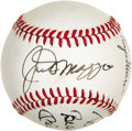 Autographs:Baseballs, 1980's Joe DiMaggio, Mickey Mantle & Roger Maris SignedBaseball. Numbers five, seven and nine will never ride upon Yankee...