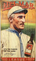 Baseball Collectibles:Others, Helmar Honus Wagner Advertising Sign. Created by the artists at the Helmar Brewing Company, this elegant piece is a painted...