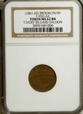 Civil War Merchants, (1861-1865) T. Ivory Billiard Saloon, Brooklyn, NY MS62 Brown NGC.Fuld-95D-6a....