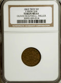 Civil War Merchants, 1863 Oliver Boutwell, Miller, Troy, NY, MS61 NGC.Fuld-NY890B-26b....
