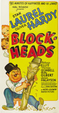 "Movie Posters:Comedy, Block-Heads (MGM, 1938). Three Sheet (41"" X 81"")...."