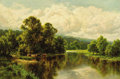 Fine Art - Painting, European:Modern  (1900 1949)  , HENRY H. PARKER (British, 1858-1930). Cattle at the River.Oil on canvas. 20 x 30 inches (50.8 x 76.2 cm). Signed lower ...