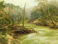 Fine Art - Painting, American:Contemporary   (1950 to present)  , S. PARKER (American, Late 20th Century). Shaded Stream,1980. Oil on canvas. 28 x 36 inches (71.1 x 91.4 cm). Signed low...