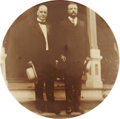 """Political:Pinback Buttons (1896-present), McKinley & Roosevelt: Front Porch Jugate in Sepia 1¾"""" Size...."""