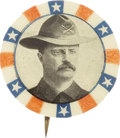 """Political:Pinback Buttons (1896-present), Theodore Roosevelt: Scarce and Colorful 7/8"""" Variety Showing Teddy in Rough Rider Hat...."""