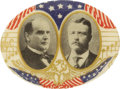 Political:Pinback Buttons (1896-present), McKinley & Roosevelt: Oval Portraits on a Musical Score...