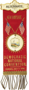 Political:Ribbons & Badges, 1896 Democratic National Convention Alternate's Badge....