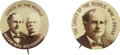 """Political:Pinback Buttons (1896-present), William Jennings Bryan: Choice Sepia Pair of 1¾"""" Campaign Pins,..."""