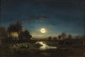 Fine Art - Painting, American:Antique  (Pre 1900), GILBERT MUNGER (American, 1837-1903). Pastoral Landscape inMoonlight. Oil on cradled wood panel. 15 x 22 inches (38.1 x...