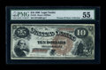Large Size:Legal Tender Notes, Fr. 101 $10 1880 Legal Tender PMG About Uncirculated 55....