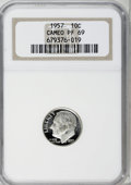 Proof Roosevelt Dimes: , 1957 10C PR69 Cameo NGC. NGC Census: (91/0). PCGS Population(10/0). Numismedia Wsl. Price for NGC/PCGS coin in PR69: $340...