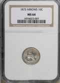Seated Dimes, 1873 10C Arrows MS64 NGC....