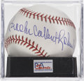 Autographs:Baseballs, Brooks Calbert Robinson, Jr. Single Signed Baseball, PSA Mint 9.Attractive piece for display includes the Hall of Fame thir...