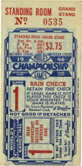 Baseball Collectibles:Tickets, 1946 St. Louis Cardinals World Series Game 1 Ticket Stub. In 1946the St. Louis Cardinals won their third World Series of t...