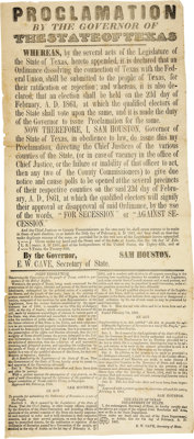 [Samuel Houston] [Broadside]: Proclamation by the Governor of the State of Texas