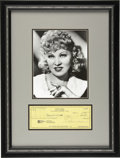 """Movie/TV Memorabilia:Autographs and Signed Items, Mae West Signed Check with Photo. """"It's better to be looked overthan overlooked"""" once quipped actress Mae West, whose frank...(Total: 1 Item)"""