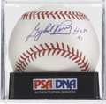 """Autographs:Baseballs, Gaylord Perry """"HOF 91"""" Single Signed Baseball, PSA Mint 9. Thecunning Gaylord Perry was the first man to win the Cy Young A..."""