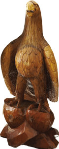 Antiques:Decorative Americana, Carved Wooden Eagle,...
