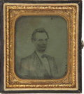 Political:Ferrotypes / Photo Badges (pre-1896), Abraham Lincoln: Cased Sixth Plate Ambrotype of an Engraving...