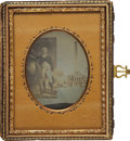 Photography:Ambrotypes, Washington Monument Souvenir Cased Quarter Plate Ambrotype Image...