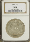 Seated Dollars: , 1848 $1 VF30 NGC. NGC Census: (3/69). PCGS Population (2/129).Mintage: 15,000. Numismedia Wsl. Price for NGC/PCGS coin in ...