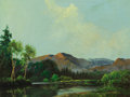 Fine Art - Painting, American:Contemporary   (1950 to present)  , A. D. (Aubrey Dale) GREER (American, 1904-1998). MountainLake. Oil on masonite. 14 x 18 inches (35.6 x 45.7 cm).Signed...
