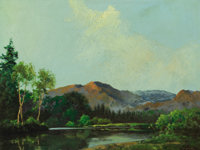 A. D. (Aubrey Dale) GREER (American, 1904-1998) Mountain Lake Oil on masonite 14 x 18 inches (35