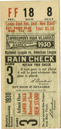 Baseball Collectibles:Tickets, 1930 St. Louis Cardinals World Series Game 3 Ticket Stub. In 1930the Old Sarge Gabby Street took over sole possession of t...
