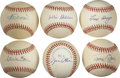Autographs:Baseballs, Former New York Yankees Single Signed Baseballs Lot of 6. Sixformer members of the New York Yankees provide nice signature...
