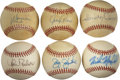 Autographs:Baseballs, Former Stars Single Signed Baseballs Lot of 6. One half dozensingles that we present here have each been signed by a forme...