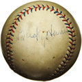 Autographs:Baseballs, 1930's Bucky Harris Signed Baseball. Pick your favorite Bucky Harris autograph and display it proudly as a single. There a...