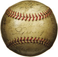 Autographs:Baseballs, 1936 New York Yankees Team Signed Baseball. The arrival of a rookiefrom San Francisco named Joe DiMaggio signalled the daw...