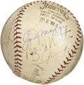 Autographs:Baseballs, Babe Ruth, Lou Gehrig & Joe DiMaggio Signed Baseball. Numbers Three, Four and Five stack up in a row on this Official Inter...
