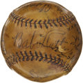 Autographs:Baseballs, 1933 American League All-Star Team Signed Baseball. Thrilling relic recounts the outrageous assortment of American League l...