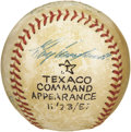 Autographs:Baseballs, 1957 Roy Campanella, Casey Stengel & Leo Durocher SignedBaseball. Just two months before the tragic automobile accidentth...