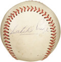 "Autographs:Baseballs, 1960's Satchel Paige Single Signed Baseball. ""Ain't no man canavoid being born average, but there ain't no man got to be co..."