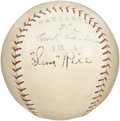 Autographs:Baseballs, Mid-1920's Sam Rice Signed Baseball. The Ban Johnson stamping onthis highly desirable red and blue stitched Official Ameri...