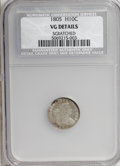Early Half Dimes, 1805 H10C --Scratched--NCS. VG Details....