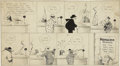 Mainstream Illustration, RUBE GOLDBERG (American 1883 - 1970). $100,000 Reward For theMan Who Didn't Call the Turn, original comic strip illustr...