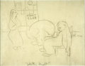 Mainstream Illustration, JAMES THURBER (American 1894 - 1961). Winter Night, originalillustration. Pencil on paper. 10.5 x 8 in.. Signed right-c...
