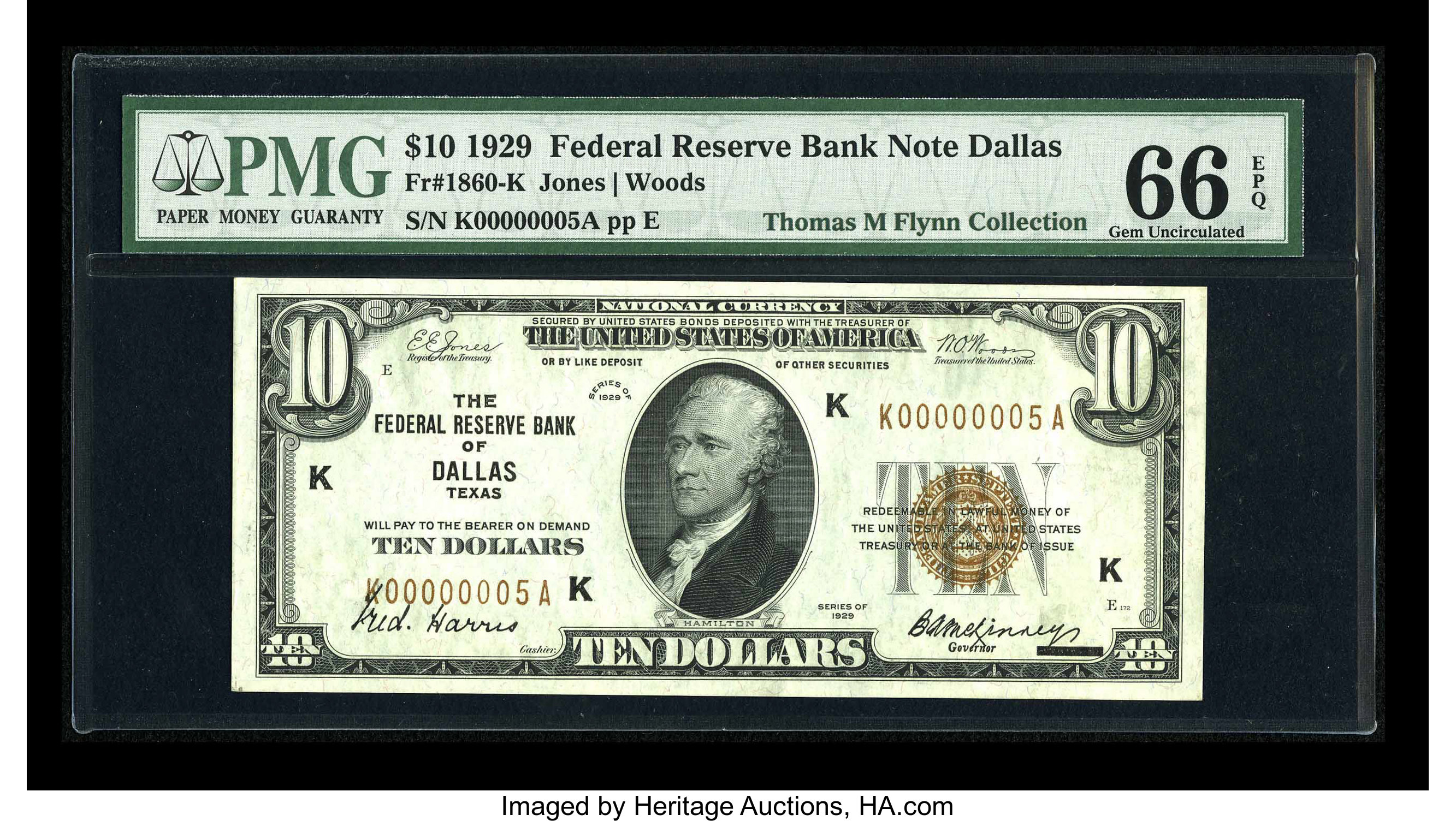 Fr  1860-K $10 1929 Federal Reserve Bank Note  PMG Gem