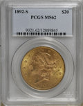 Liberty Double Eagles: , 1892-S $20 MS62 PCGS. PCGS Population (1057/555). NGC Census:(1207/357). Mintage: 930,150. Numismedia Wsl. Price for NGC/P...
