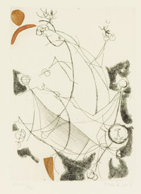 MARINO MARINI (Italian, 1901-1980) Abstract Horse and Rider Color etching 10-3/8 x 7-3/8 inches (