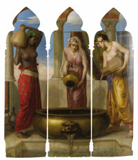 WALTER CRANE (British 1845-1915) Europe, Asia, Africa, circa 1870 Panel Triptych 56-1/2 x 16-3/8 inches, each, approx