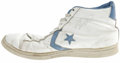 Autographs:Others, 1983 UNC Game Worn Shoe Signed by Michael Jordan. Tremendous gameworn example of the Converse high tops that were issued t...