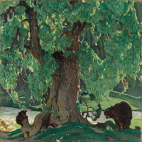 WILLIAM HERBERT (BUCK) DUNTON (American 1878-1936) Summer Silhouette, circa 1926 Oil on canvas 14 x 14 inches (35.56