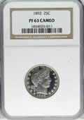 Proof Barber Quarters: , 1892 25C PR63 Cameo NGC. Type Two Reverse. An impressive white-on-black cameo proof striking of this popular and widely sav...