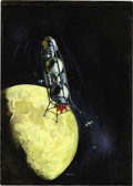 Pulp, Pulp-like, Digests, and Paperback Art, JACK FARAGASSO (American b.1929). Moon Orbit, originalillustration. Acrylic on board. 16 x 11.5 in.. Signed lowerright...