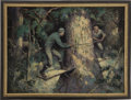 Mainstream Illustration, JAMES MCKELL (American 1885 - 1956). Two Loggers, originalillustration. Oil on canvas. 22 x 30 in.. Signed lower right...